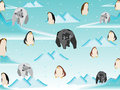 Polar bear and penguin in north pole pattern vector graphic Royalty Free Stock Photo