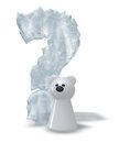 Polar bear question and frozen mark d illustration Stock Photo
