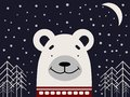 A polar bear in a red sweater on a dark background with stars and trees.