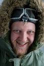 In polar flying helmet Royalty Free Stock Photo