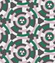 Polar grid based circular geometric color blocking pink, green, cream, and brown seamless repeat patter swatch