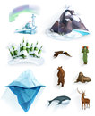 Polar nature icons Royalty Free Stock Photo