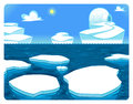 Polar scene vector and cartoon illustration Stock Photography
