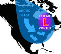 Polar vortex a trough weather system with low pressure causing arctic temperatures over the continental usa Royalty Free Stock Images