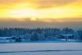 Polar winter dusk landscape Royalty Free Stock Photo