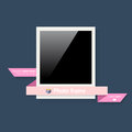 Polaroid frame blank photo with pink ribbon for your design Stock Photos