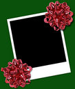 Polaroid Frame With Holiday Bow Stock Image