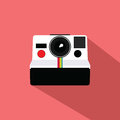 Polaroid Vintage Camera Flat Design Vector