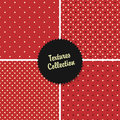 Polca texturizada rojo clásico dot seamless different patterns Fotos de archivo libres de regalías