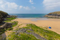 Poldhu beach cornwall england uk the lizard peninsula between mullion and porthleven south on west of goonhilly with people Stock Image