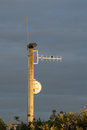 Pole arial wooden with a aerials and a dish on it Stock Photography