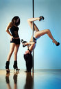 Pole dance women Royalty Free Stock Photo