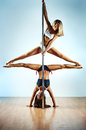 Pole dance women Stock Image