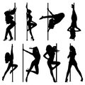 Pole dance women silhouettes eps format Stock Photos