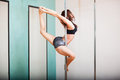Pole dancer and the ballerina pose Royalty Free Stock Photos