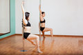 Pole dancing students in class Royalty Free Stock Photo