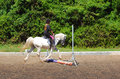 Pole on the ground training little caucasian girl child riding her grey show pony in for in jumping arena outdoors Royalty Free Stock Images