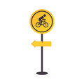 Pole with road sign with ride bike symbol
