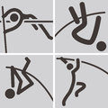 Pole vault icons summer sports Royalty Free Stock Images