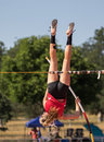 Pole Vaulter Upside Down Royalty Free Stock Photo