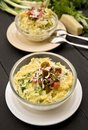Polenta with cheese and greens served tomato salsa Royalty Free Stock Photography