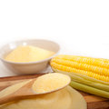 Polenta traditional north italy corn mais flour cream with crop Royalty Free Stock Image