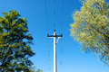 Poles under the blue sky a telegraph pole in china Stock Images