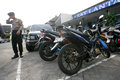 Police arrest motorcycle that broke the rules of traffic in the city of solo central java indonesia Stock Image