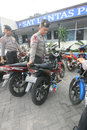 Police arrest motorcycle that broke the rules of traffic in the city of solo central java indonesia Royalty Free Stock Photo
