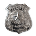 Police badge with clipping path stock photo special isolated on white Stock Photo