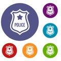 Police badge icons set