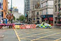 Police barrier at the street Royalty Free Stock Photo