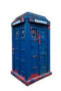 Police box old dilapidated on white clipping path included Royalty Free Stock Photo