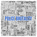 Police brutality concept word tag cloud design close up blue text at the center of on white background Stock Photography
