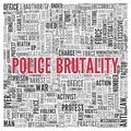 Police brutality concept word tag cloud design close up red text at the center of on white background Stock Photos