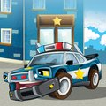 Police car at duty illustration for the children happy and colorful Royalty Free Stock Image