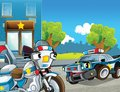 Police car at duty illustration for the children happy and colorful Stock Photography