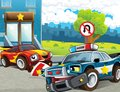 Police car at duty illustration for the children happy and colorful Stock Photos