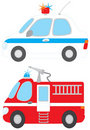 Police car and fire engine Royalty Free Stock Photo
