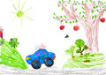 Police car and nature. child drawing Royalty Free Stock Photos