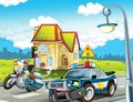 The police car officers illustration for the children happy and colorful Royalty Free Stock Photography