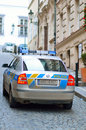 Police car in prague city patrol on street back view of the Stock Image