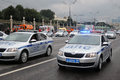 Police cars at First Moscow Parade of City Transport Royalty Free Stock Photo