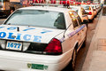 Police cars lined up in New York City Royalty Free Stock Images