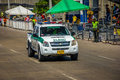 Police cars patrolling streets just before colombia s most impor barranquilla february important folklore celebration the Stock Image