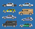 Police cars vector international includong swat and bill collector trucks Stock Photo