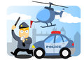 Police chasing a crime with car and helicopter Royalty Free Stock Photography