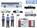 Police concept. Detailed illustration of police station, policeman, sheriff, prison bus, helicopter, armored S.W.A.T