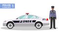 Police concept. Detailed illustration of policeman and car in flat style on white background. Royalty Free Stock Photo