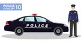 Police concept. Detailed illustration of policeman and car in flat style on white background. Vector illustration. Royalty Free Stock Photo